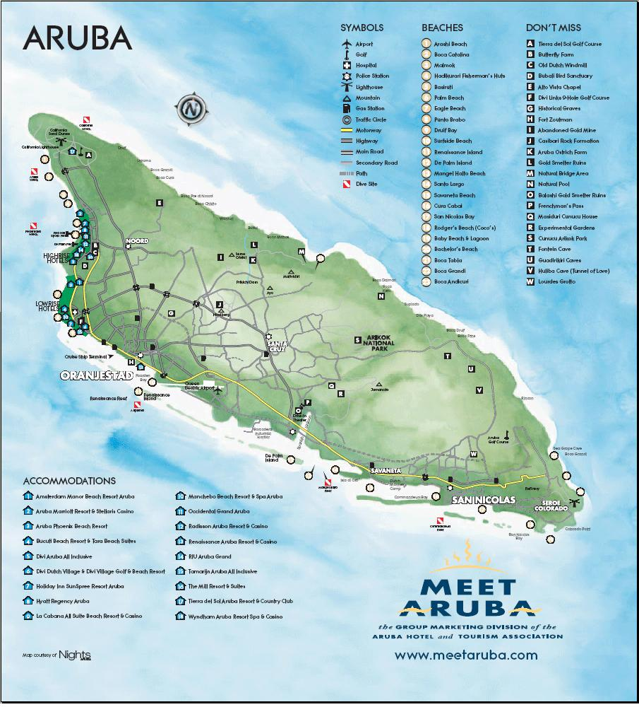 Aruba Maps of cities towns and travel destinations free online
