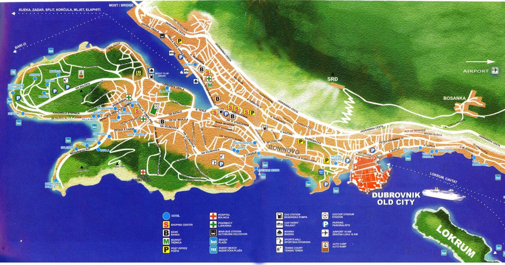Dubrovnik Croatia Detailed Town City Map Free Download