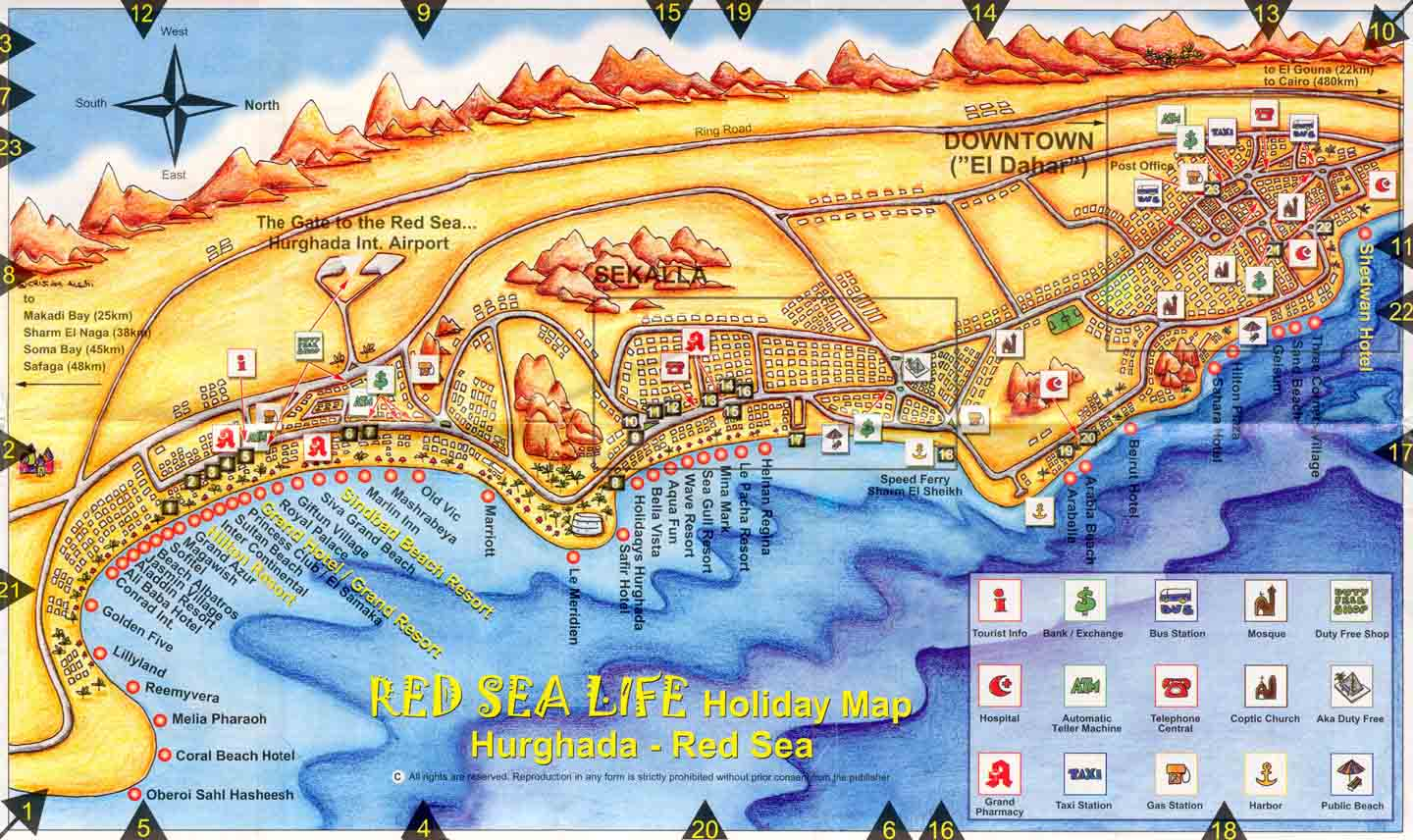 Hurghada Egypt Detailed Towncity Map Free Download - Map of egypt hotels