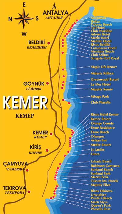 Kemer hotels Turkey city or destination online map town maps
