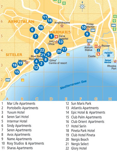 Marmaris hotels Turkey Detailed towncity map free download