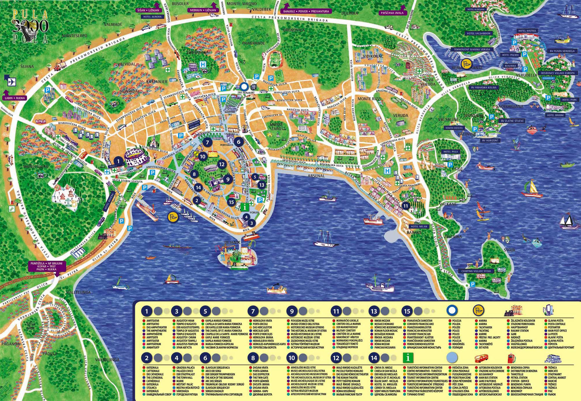 vodice karta ulica Pula, Croatia   city or destination online map, town maps free  vodice karta ulica