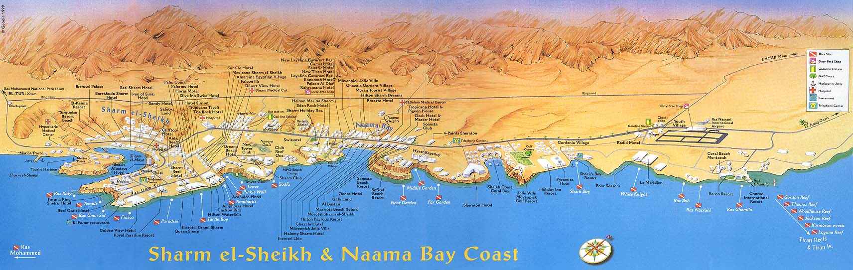 SharmElSheikh Sharm ElSheikh Egypt Detailed Towncity Map - Map of egypt hotels