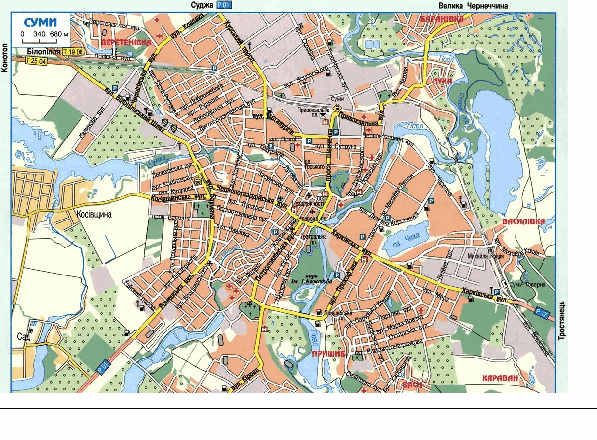 Sumy Ukraine Detailed towncity map free download
