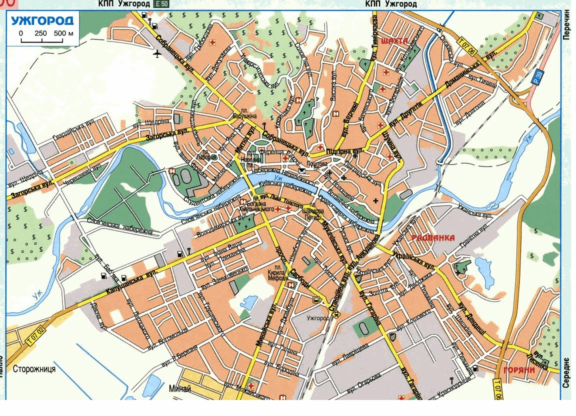 Uzhhorod Uzhgorod Ukraine Detailed Towncity Map Free Download - Uzhhorod map