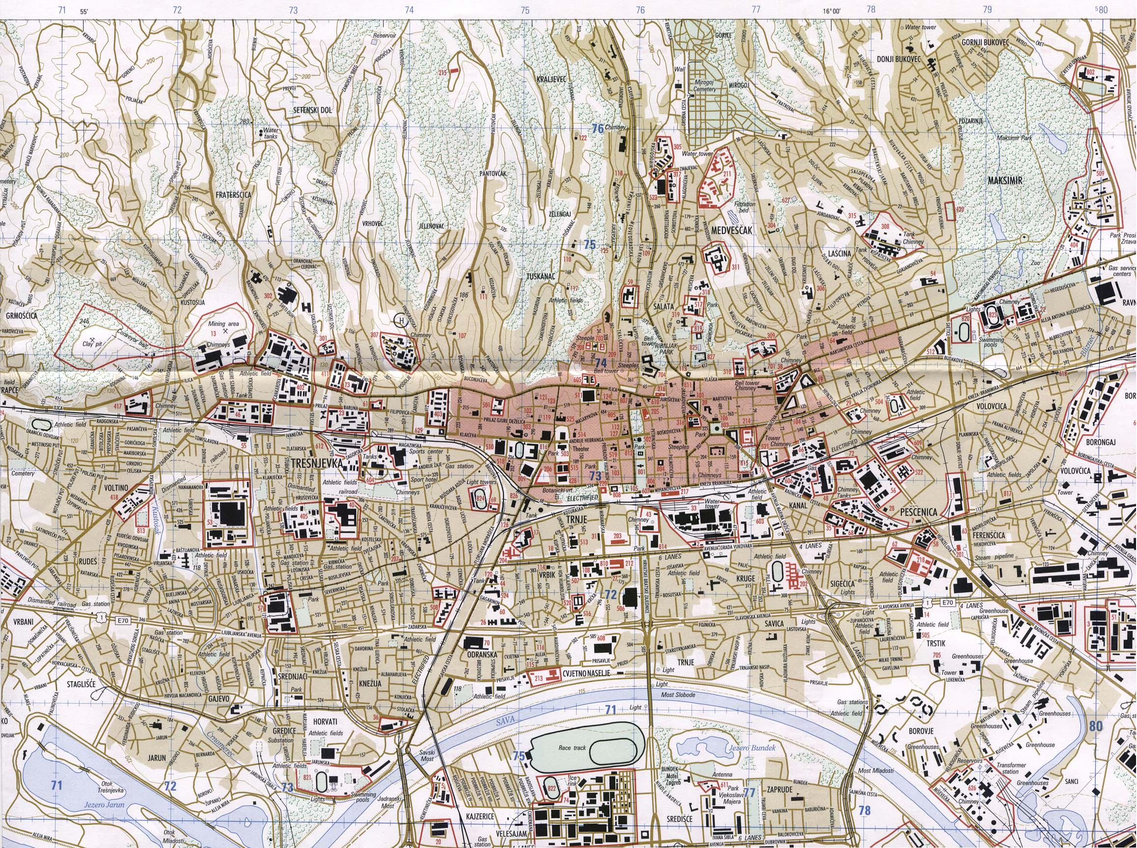 Zagreb croatia detailed towncity map free download zagreb altavistaventures Images