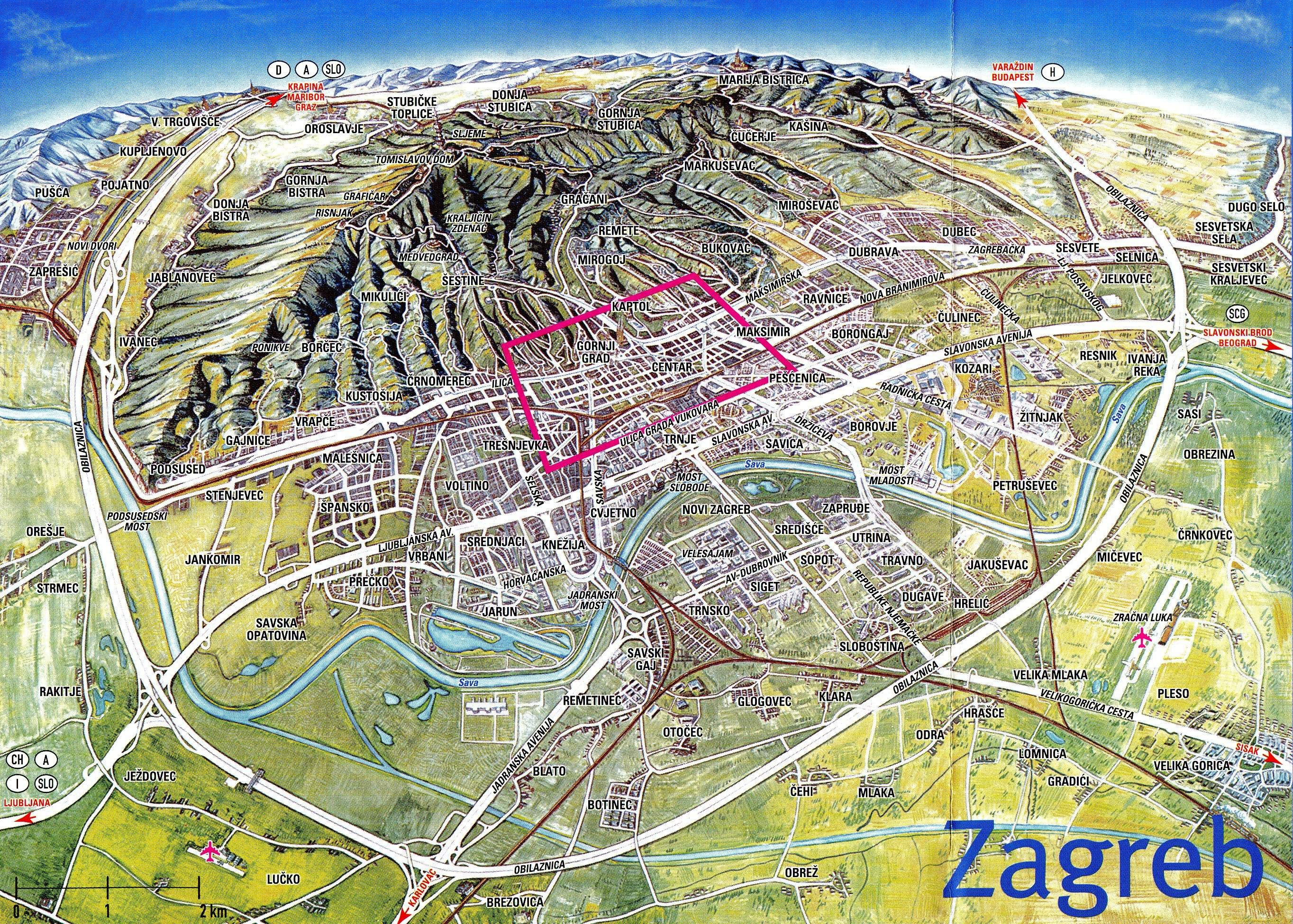 Zagreb, Croatia - city or destination online map, town maps free ... Zagreb Map