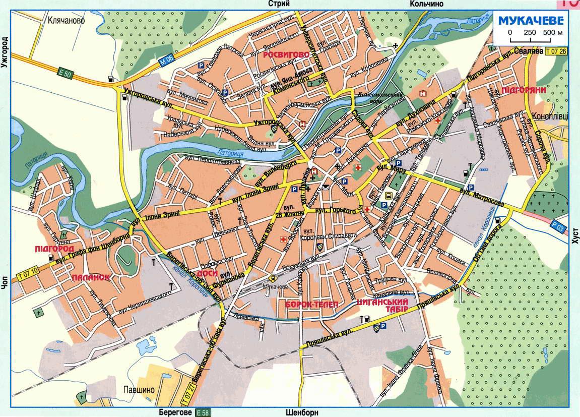 Карта Мукачево С Улицами